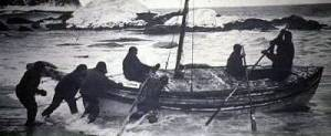 Crew boards James Caird for South Georgia