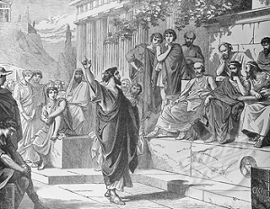 Paul preaching in Athens.
