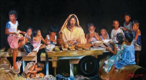 A Filipino painitng of Jesus breaking bread with children.