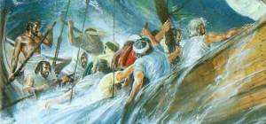 God saved the sailors in the boat Jonah traveled in.