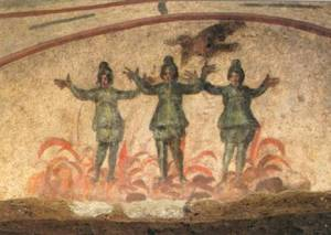 """The Three Men in the Fiery Furnace"" -  3rd Century wall painting discovered in the Priscilla Catacomb, Rome"