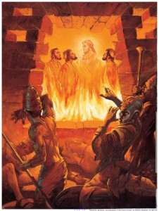 God enters our suffering. (Shadrach, Meshach, and Abednego in the Fiery Furnace by William Maughan, 1985)