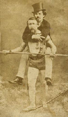 Charles Blondin carrying his manager Mark C accross the Niagara Falls on a tightrope.  An image of real faith.