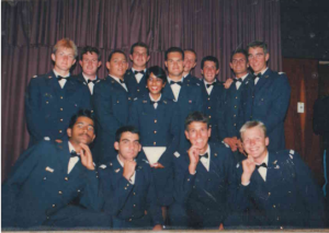 A photo taken during our studies.  here you can see some of the legendary Air Force friends who had such a big influence on teh church plant.  In this photo: myself, Hendrik Redelinghuys, Henno Kriel, Wim van der Merwe, and Corne Smith.   Johan Appelgrein is not on this photo. SG Ferreira, Barry Drotche, Christo Versteeg also joined later.